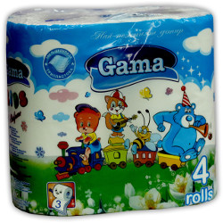 A picture of toilet paper Kids - 100% cellulose, aromatic, with stamp