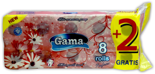 A picture of toilet paper Gama with paper - 100% cellulose, aromatic, with stamp