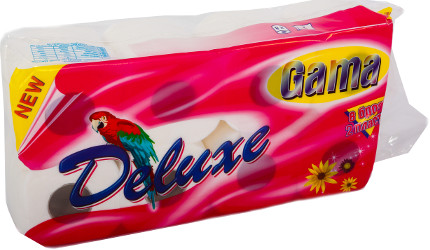 A picture of toilet paper Gama Delux - 100% cellulose, two-ply