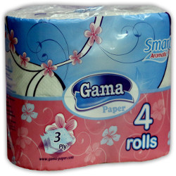 A picture of three-ply 100% cellulose toilet paper Smart whiteness with stamp
