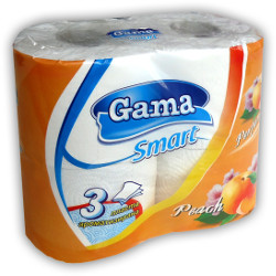 A picture of three-ply toilet paper Smart Peach whiteness with stamp