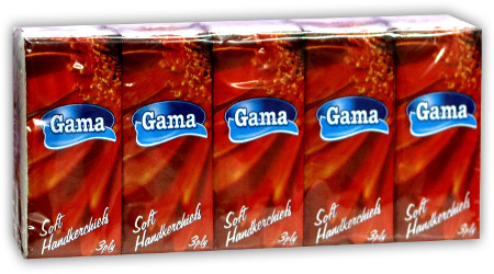 A picture of handekrchiefs Gama - cellulose three-ply red package